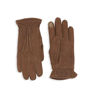 UGG MEN'S 3 POINT LEATHER GLOVES CHOCOLATE SZ M